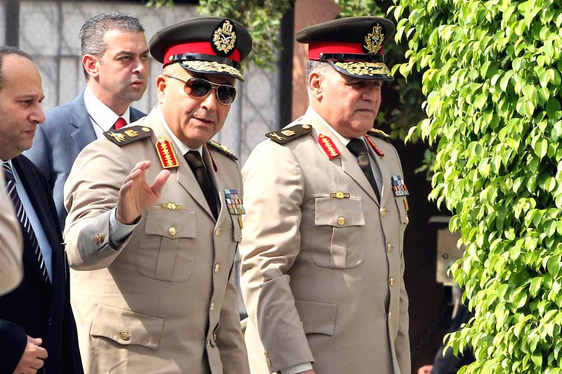 Chief of Staff of the Egyptian army, Mahmoud Hegazy arrives to the Arab League meeting of the army chiefs from Arab nations in Cairo, capital of Egypt, April 22, ...