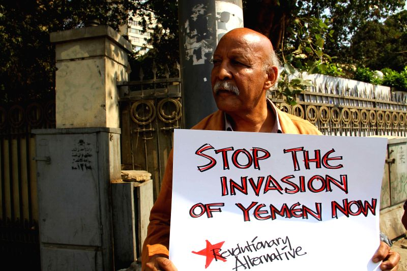 A man stands in front of the embassy of Saudi Arabia to protest Saudi Arabia-led airstrikes on Yemen in Cairo, capital of Egypt, April 4, 2015. Around two dozens of ...