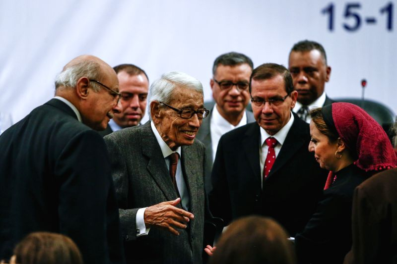 "Dr. Boutros Boutros-Ghali (2nd L, front), former Secretary-General of the United Nations, attends the opening session of the conference ""Egypt and the World...A New Era"" in Cairo, ..."