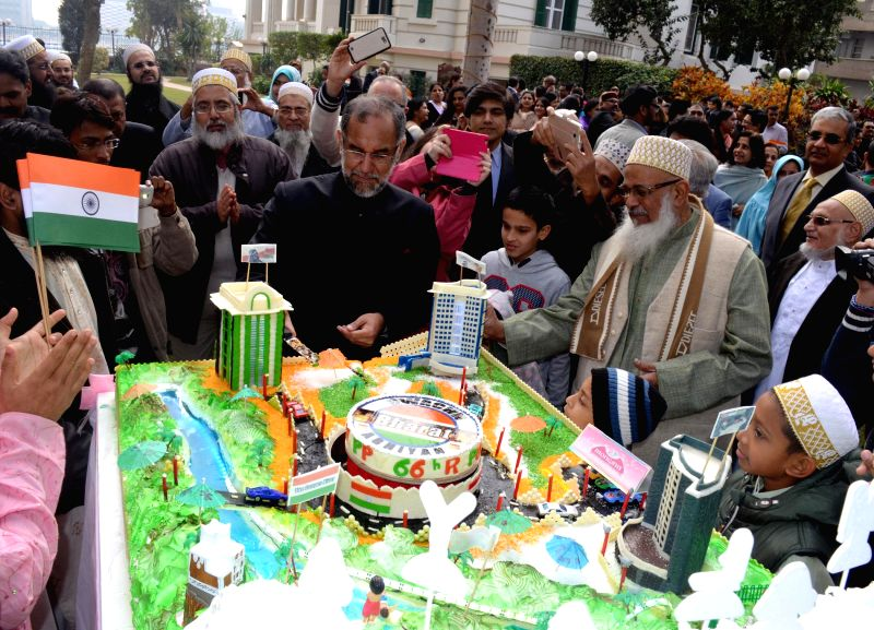 Cairo (Egypt): Republic Day being celebrations at the Indian embassy in Cairo, Egypt on Jan 26, 2015.