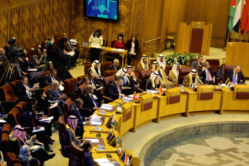 CAIRO, Feb. 1, 2018 - Photo taken on Feb. 1, 2018 shows a general view of the Arab League foreign ministers' meeting on U.S. President Donald Trump's decision to recognize Jerusalem as the capital of ...