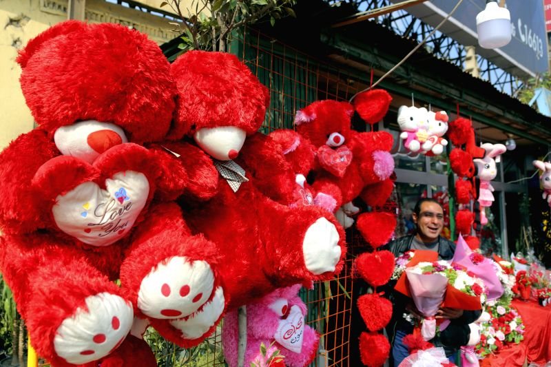 CAIRO, Feb. 14, 2018 - A vendor waits for customers at his flower shop on the Valentine's day in Cairo, Egypt on Feb. 14, 2018.