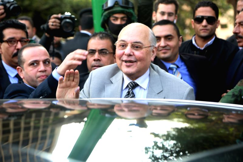 CAIRO, Jan. 29, 2018 - The Chairperson of Egypt's Ghad Party, Moussa Mostafa Moussa (front), waves to his supporters in Cairo, Egypt on Jan. 29, 2018. The Chairperson of Egypt's Ghad Party, Moussa ...
