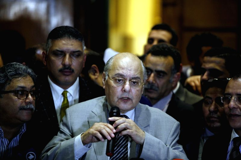 CAIRO, Jan. 29, 2018 - The Chairperson of Egypt's Ghad Party, Moussa Mostafa Moussa (C), speaks during a press conference in Cairo, Egypt on Jan. 29, 2018. The Chairperson of Egypt's Ghad Party, ...