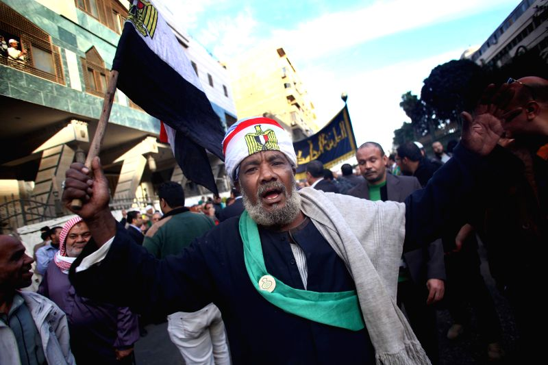 A man is seen during a march to commemorate the birth of Prophet Mohamed in Cairo, Egypt, on Jan. 3, 2015. Muslims celebrated the birthday of Prophet Mohammed here on .
