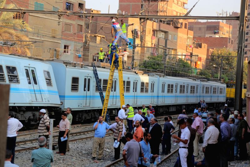 CAIRO, July 11, 2018 - Photo taken on July 11, 2018 shows the site of a metro accident in Cairo, Egypt. A metro train was derailed in Cairo on Wednesday without any injuries, according to Egypt's ...