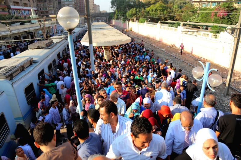 CAIRO, July 11, 2018 - Photo taken on July 11, 2018 shows a crowded metro station after a metro accident in Cairo, Egypt. A metro train was derailed in Cairo on Wednesday without any injuries, ...