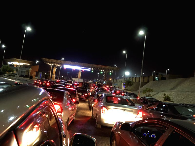 CAIRO, July 12, 2018 - Photo taken on July 12, 2018 shows the traffic jam on a way to Cairo Airport in Cairo, Egypt. An explosion was heard near Cairo Airport on Thursday.