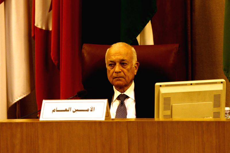 Secretary-general of the League of Arab States Nabil Elaraby attends the Arab League emergency meeting of Foreign Ministers in Cairo, capital of Egypt, July 14, 2014.