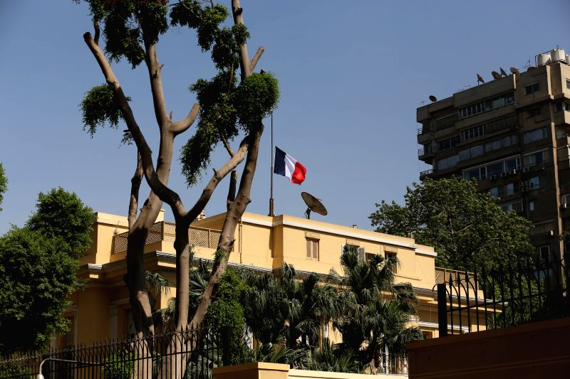 CAIRO, July 17, 2016 - French national flag flies at half-mast at the French Embassy in Giza, Egypt, July 17, 2016, to mourn the victims of a deadly attack took place in Nice, France on Thursday.