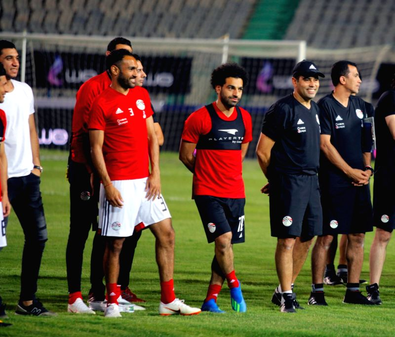CAIRO, June 10, 2018 - Egypt's soccer player Mohammed Salah (2nd R) attends a training session for the 2018 Russia World Cup soccer tournament, in Cairo, Egypt on June 9, 2018.
