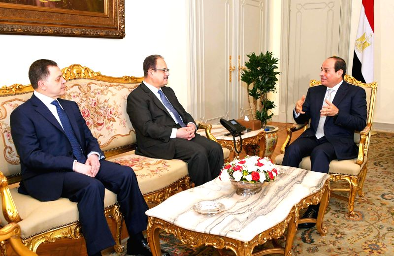 CAIRO, June 14, 2018 - Egyptian President Abdel-Fattah al-Sisi (1st R) meets with new Interior Minister Mahmoud Tawfik (1st L) and his predecessor, Magdy Abdel-Ghaffar (2nd L) in Cairo, Egypt on June ... - Mahmoud Tawfik