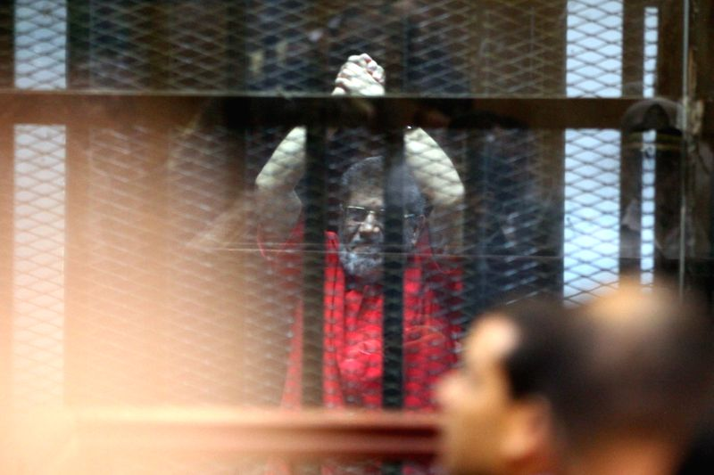 CAIRO, June 18, 2019 (Xinhua) -- File photo taken on June 18, 2016 shows Egypt's former President Mohamed Morsi in a court in Cairo, Egypt. Egypt's former President Mohamed Morsi died on Monday in court after the conclusion of a trial session in an e