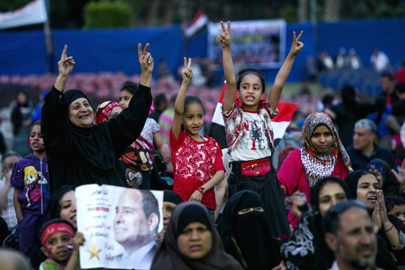 Egyptians shout slogans during a campaign rally for the presidential hopeful Abdel-Fattah el-Sissi, in Cairo, Egypt, May 10, 2014. Hundreds of Egyptians gather in the .