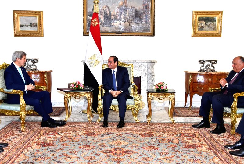 CAIRO, May 18, 2016 - U.S. Secretary of State John Kerry (L) meets with Egyptian President Abdel-Fattah al-Sisi(C) in Cairo, Egypt on May 18, 2016. U.S. Secretary of State John Kerry arrived in Cairo ...