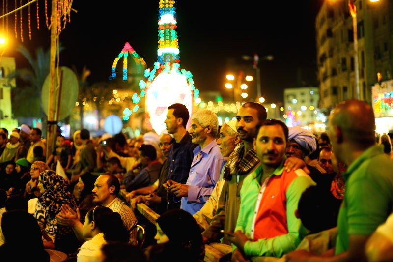 CAIRO, May 4, 2016 - Muslims attend a ritual ceremony to commemorate the birth of Syeda Zainab in Cairo, Egypt, on May 3, 2016. Muslims on Tuesday celebrated the birth of Syeda Zainab who is the ...