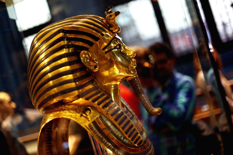 CAIRO, May 6, 2017 - A visitor takes photos of the golden burial mask of King Tutankhamun, one of ancient Egypt's most famous artifacts, at the Egyptian Museum in Cairo, capital of Egypt, on May 6, ...