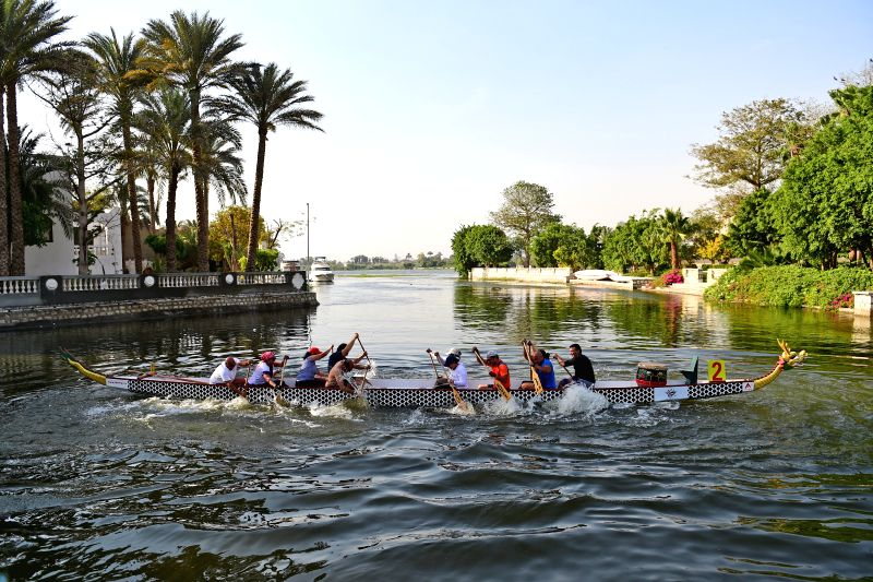 CAIRO, May 7, 2017 - Egyptian trainees enjoy Dragon Boating pulling competition at the end of the training at Royal Mohamed Ali Club in Cairo, Egypt on May 6, 2017. The 2,000-year-old Chinese dragon ...