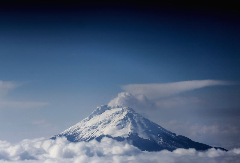 """The photo taken on Dec.22, 2014 shows the view of the volcano """"Nevado del Ruiz"""", which continues to emit gas and ash, in Caldas, Colombia. According to ..."""