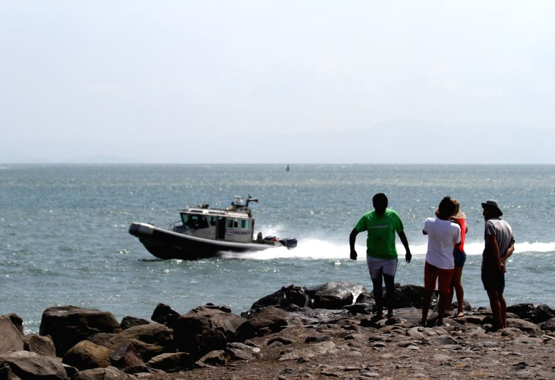 A boat patrol after the spill of ammonium nitrate in Caldera, Costa Rica, on May 3, 2015. Costa Rica's National Emergencies Commission announced a red alert on Sunday ...