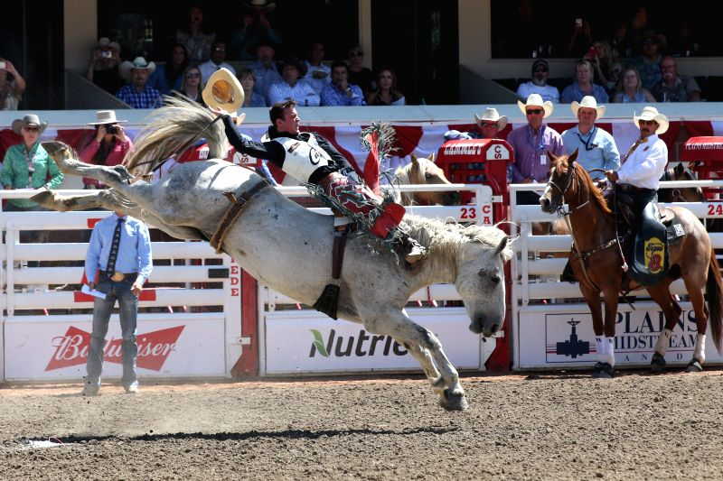 CALGARY, July 17, 2018 - A rider competes during the 50th Calgary Stampede in Calgary, Canada, on July 16, 2018.