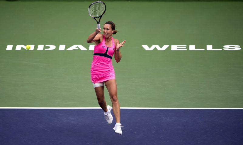 Romanian tennis player Simona Halep in action against her Serbian counterpart Jelena Jankovic  in the finals of the BNP Paribas Open tennis at the Indian Wells Tennis Garden in ...