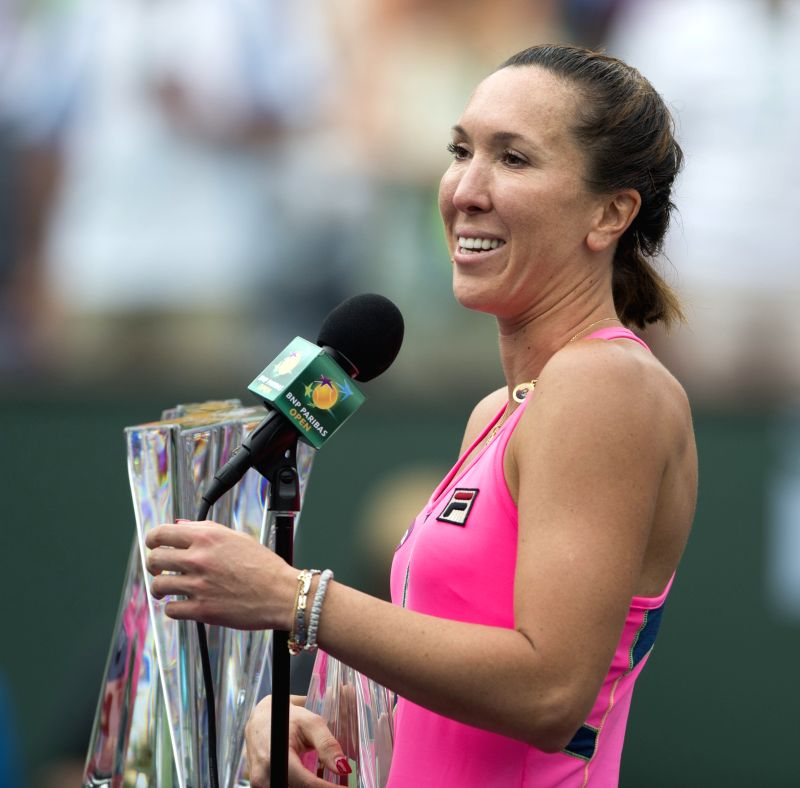 Serbian tennis player Jelena Jankovic after being defeated by her Romanian counterpart Simona Halep in the finals of the BNP Paribas Open tennis at the Indian Wells Tennis Garden in ...