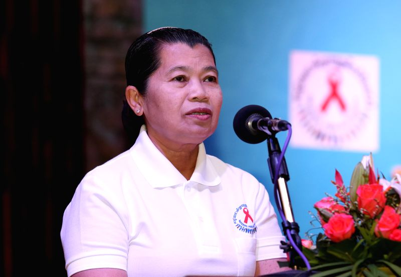 "Cambodian Deputy Prime Minister Men Sam An speaks on the World AIDS Day in Phnom Penh Dec. 1, 2015. Cambodia is on track to achieve the ""Three Zeros"" ... - Men Sam A"