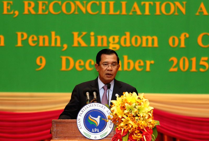 Cambodian Prime Minister Hun Sen speaks during the opening ceremony of the 8th Asian Parliamentary Assembly (APA) in Phnom Penh, Cambodia, Dec. 9, 2015. The ... - Hun Sen