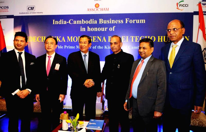 Cambodian Prime Minister Samdech Akka Moha Sena Padei Techo Hun Sen and Union MoS for Human Resource Development and Water Resources, River Development and Ganga Rejuvenation, Dr. Satya ... - Samdech Akka Moha Sena Padei Techo Hun Sen and Satya Pal Singh