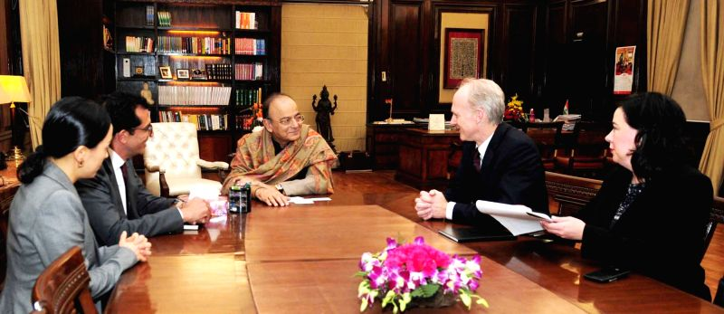 Canada Pension Plan Investment Board President and CEO Mark G.A. Machin calls on Union Finance Minister Arun Jaitley in New Delhi, on Dec 15, 2017. - Arun Jaitley