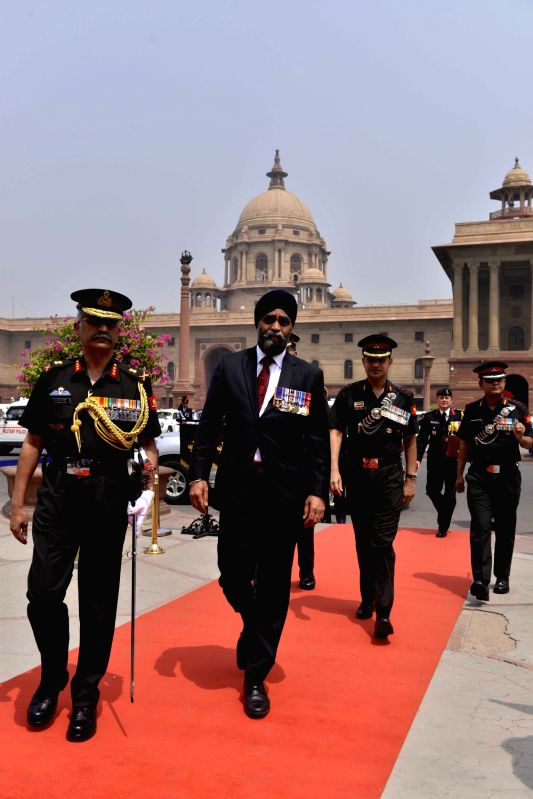 Canadian Defence Minister Harjit Singh Sajjan arrives at South Block in New Delhi on April 18, 2017. - Harjit Singh Sajjan