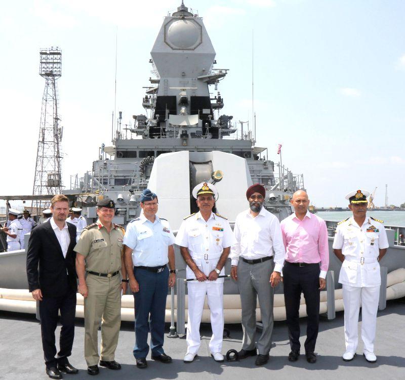 Canadian Defence Minister Harjit Singh Sajjan visited the Indian Navy\'s indigenous guided missile destroyer, INS Kochi. - Harjit Singh Sajjan