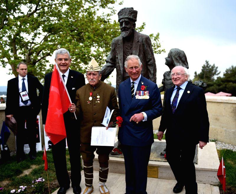 Irish President Michael D. Higgins(1st R), British Prince of Wales Charles(2nd R), Turkish Minister for EU Affairs Volkan Bozkir(4th R) and a Turkish veteran(3rd ...