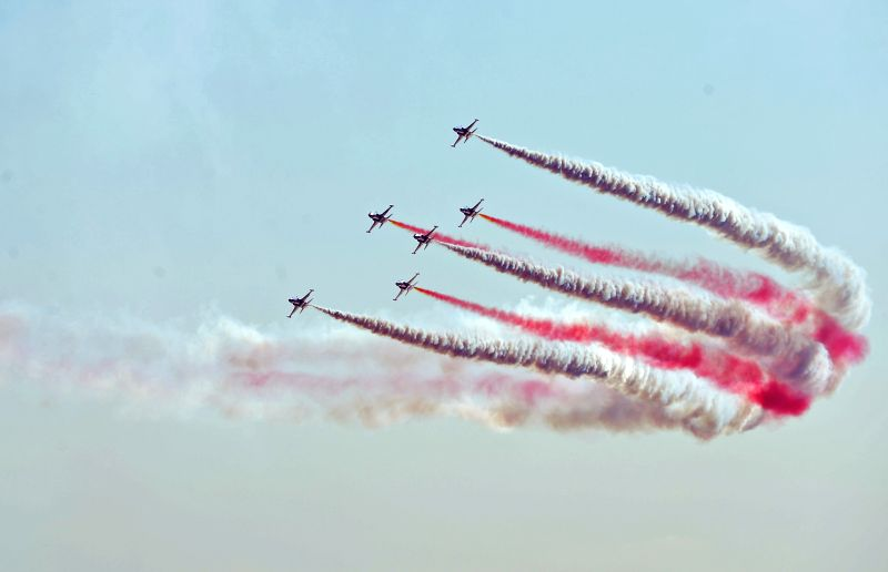 Aerobatic planes attend the commemoration ceremony for the 100th anniversary of Gallipoli Campaign in Canakkale March 18, 2015. Turkey on Wednesday commemorated ...