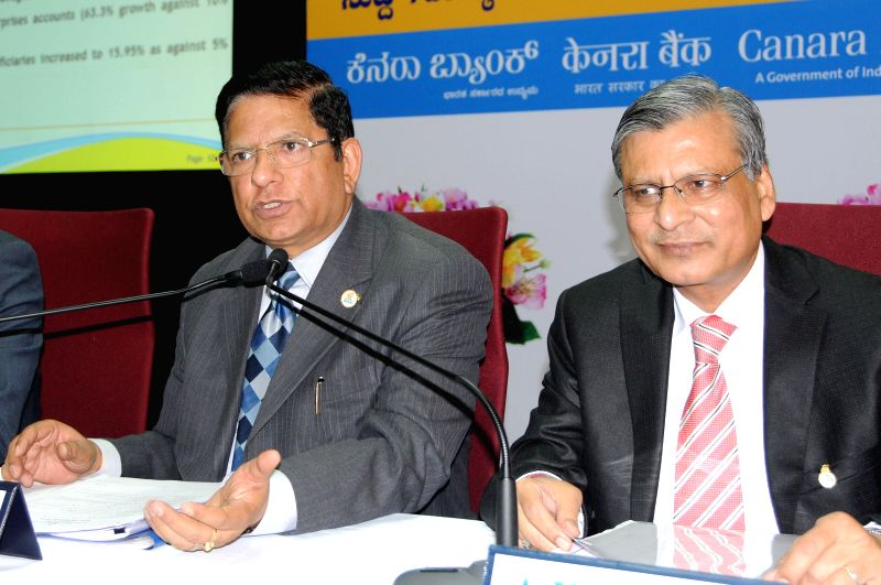 Canara Bank CMD R K Dubey addresses a press conference in Bangalore on July 21, 2014.
