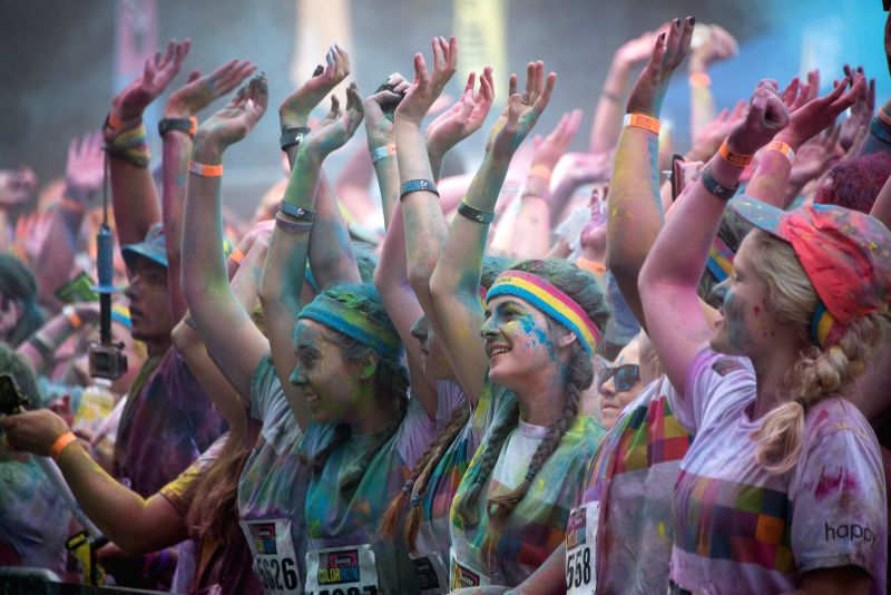 "Runners take part in the 5km Color Run at Commonwealth Park in Canberra, Australia, Feb. 22, 2015. Some 7,000 runners finished this year's ""Color Run"" ..."