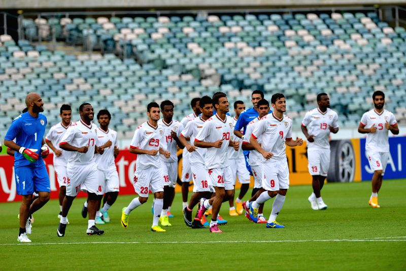 Players of Oman attend a training session ahead of the AFC Asian Cup in Canberra, Australia, Jan. 9, 2015.