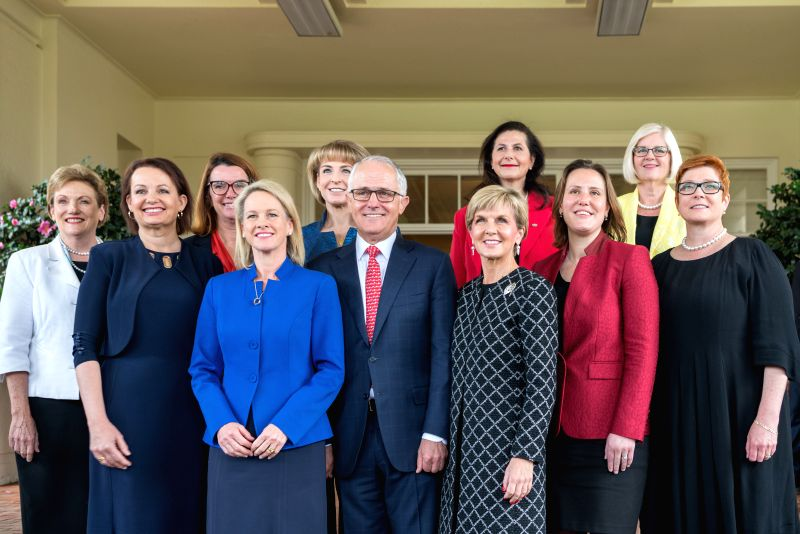 CANBERRA, July 19, 2016 - Female members of the cabinet of Australian government take a group photo with Prime Minister Malcolm Turnbull (Front C) after the sworn-in ceremony at the Government House ... - Malcolm Turnbull