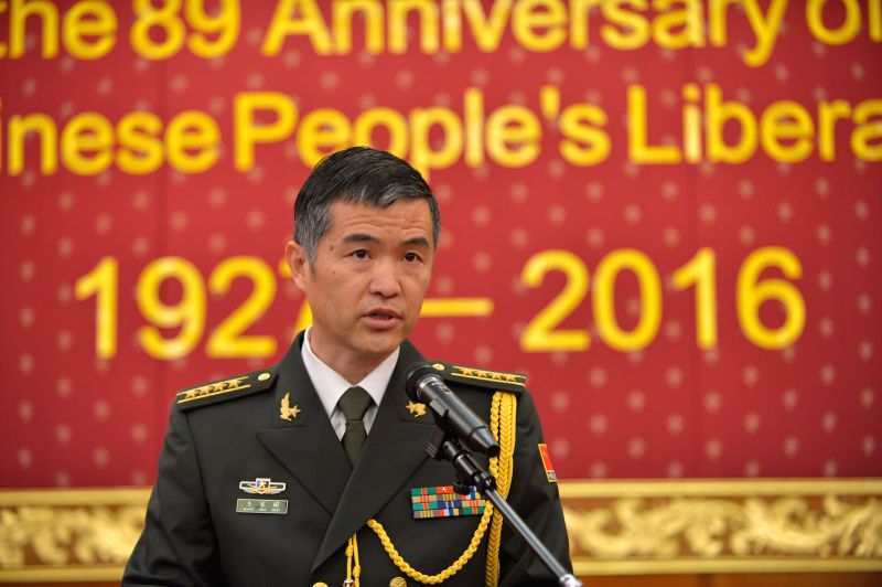 CANBERRA, July 29, 2016 - Senior Colonel Wang Jingguo, Defence Attache of the Chinese Embassy in Australia, gives a speech at the reception to mark the 89th Anniversary of the Founding of the ...