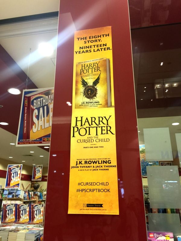 CANBERRA, July 31 Photo taken on July 31, 2016 shows an advertisement of Harry Potter and the Cursed Child, the eighth story published as the Harry Potter book series, at a shopping mall ...