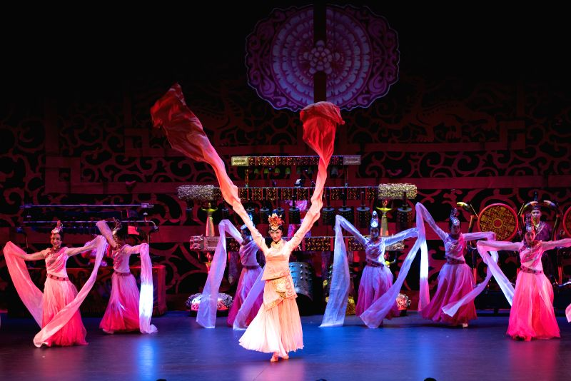CANBERRA, June 2, 2016 - Dancers perform the Imperial Bells at Canberra Theare, Canberra, Australia, on June 1, 2016. China's Hubei Song and Dance Ensemble and Bianzhong Ensemble bring the musical ...