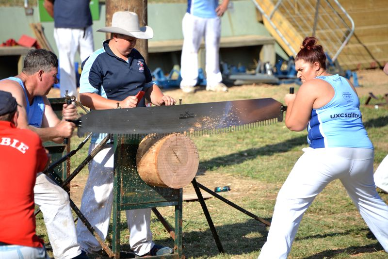 Contestants attend a mixed-double wood-sawing race during the Royal Canberra Show in Canberra, Australia, Feb. 28, 2015. The Royal Canberra Show, which is an ...