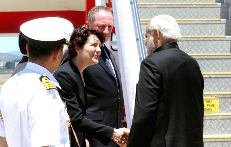 Prime Minister Narendra Modi being seen off at Canberra Airport, Australia on Nov 18, 2014. - Narendra Modi