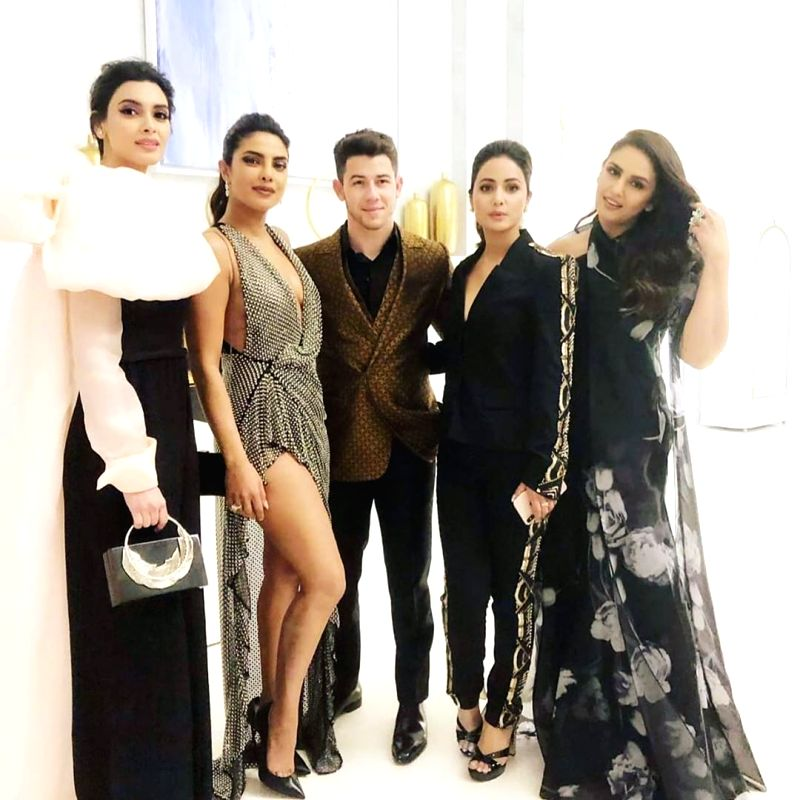 Cannes: Actresses Priyanka Chopra Jonas, Huma Qureshi, Diana Penty and Hina Khan with singer Nick Jonas at the after-party of the 2019 Cannes Film Festival, in Cannes, France, on May 19, 2019. (Photo: realhinakhan/Instagram)