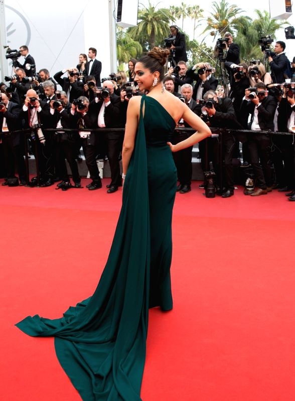 "Cannes (France) : Indian actress Deepika Padukone poses on the red carpet for the screening of the film ""Loveless"" in competition at the 70th Cannes International Film Festival in Cannes, ... - Deepika Padukone"