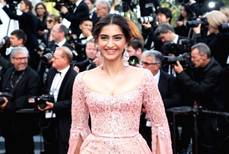 """Cannes (France): Indian actress Sonam Kapoor poses on the red carpet for the screening of the film """"The Meyerowitz Stories"""" in competition at the 70th Cannes International Film Festival in ... - Sonam Kapoor"""