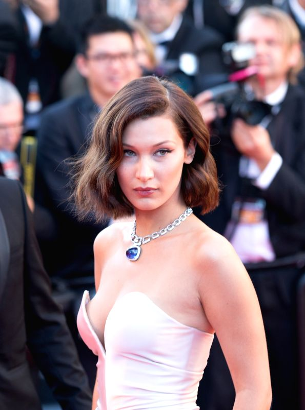 CANNES (FRANCE), May 18, 2017 U.S. model Bella Hadid poses on the red carpet before the opening of the 70th Cannes International Film Festival in Cannes, France, on May 17, 2017. The 70th ... - Bella Hadid