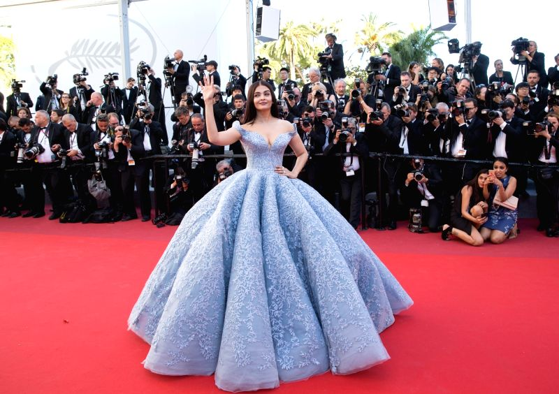 "CANNES (FRANCE), May 19, 2017 Indian actress Aishwarya Rai Bachchan poses on the red carpet for the screening of the film ""Okja"" in competition at the 70th Cannes International ... - Aishwarya Rai Bachchan"