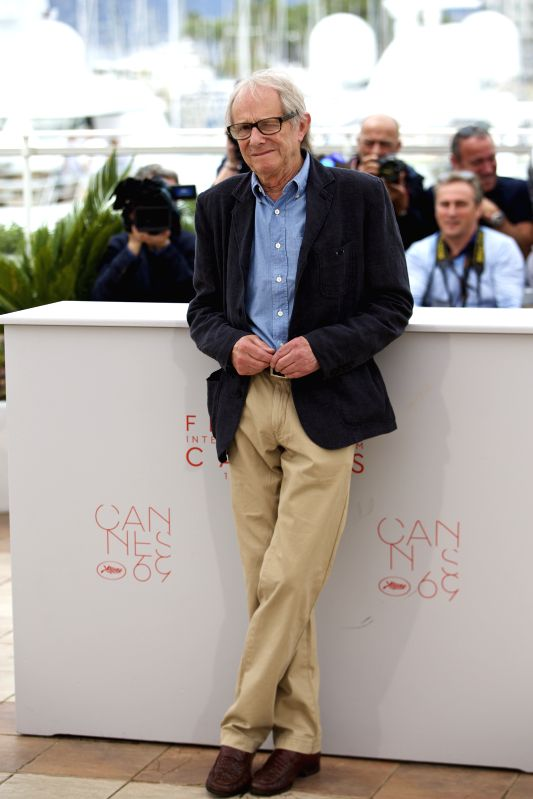 "CANNES, May 13, 2016 - Director Ken Loach poses during a photocall for the film ""I, Daniel Blake"" in competition at the 69th Cannes Film Festival in Cannes, France, May 13, 2016."